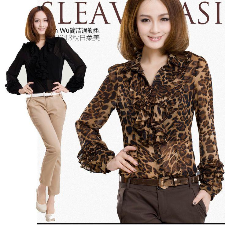 2014 Spring and Summer New Fashion Leopard Chiffon Shirt Ruffle Collar Cuff Women's Slim Shirt Long Sleeve Ladies Formal Blouses
