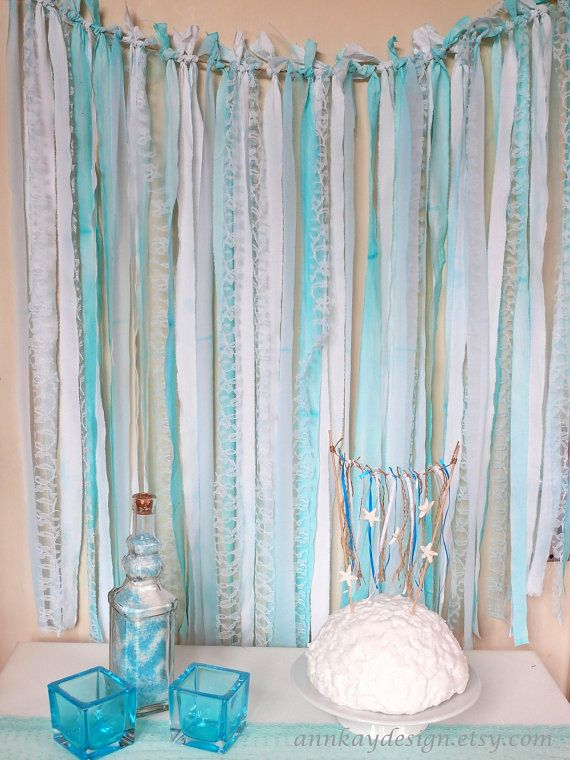 Fabric  Garland Rag Streamer Backdrop with Mint Fabric , Lace and Tulle by AnnKayDesign, €49.00