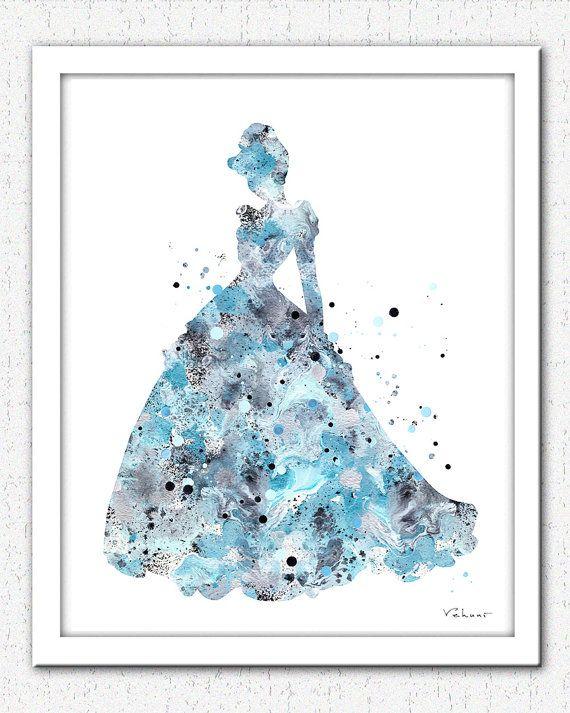 Cinderella print Disney princess princess painting princess