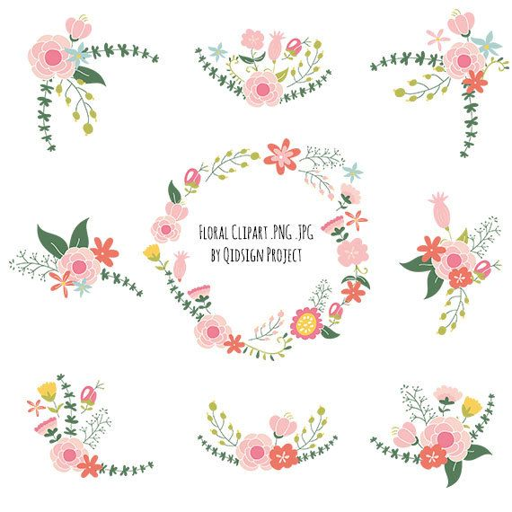 Floral Clipart, Bouquet clipart, wedding clipart,Floral Frame, Wedding Floral, Flower Monogram,Personal and Commercial Use, Instant Download