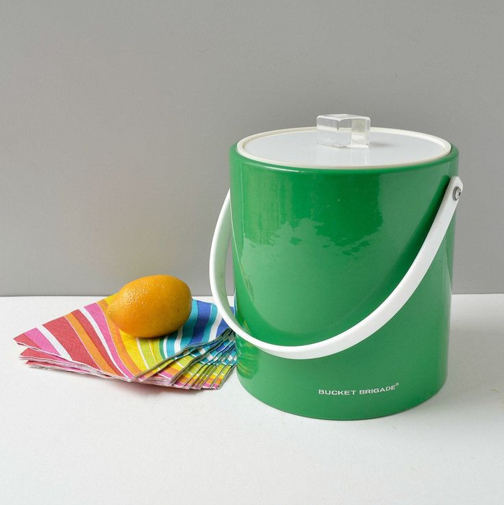Bucket brigade ice bucket; vintage Morgan Design kelly green ice bucket; green vinyl ice bucket with lucite handle; vintage vinyl ice bucket by TheGoldGator on Etsy