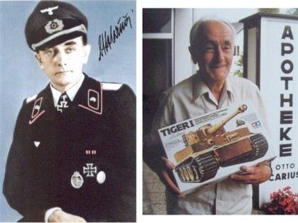 Left pisture - Otto carius  at WWII Right picture - 21st century