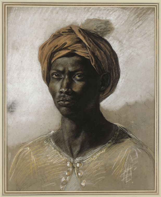 Portrait of a Turk in a Turban - Eugene Delacroix Awesome example to show students a fantastic drawing on tinted paper.