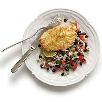 Honey-Lime Chicken with Coconut-Black Bean Rice | Coconut and lime lend coastal flavor to this quick and easy chicken cutlet recipe. | #Recipes | SouthernLiving.com