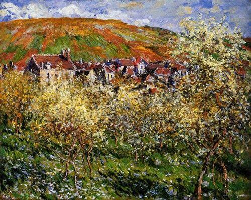 Pintura ao ar livre ficou marcada como uma característica dos impressionistas. A luz natural era importante e dava sombras e luzes para a paisagem ou objeto da pintura. Claude Monet, Plum Trees in Blossom, 1879