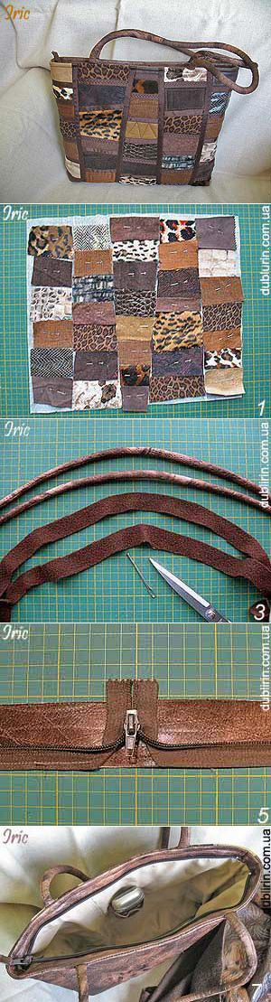 leather or pleather patches secured by strips of thin suede stitched thru them - no bulk at seams!
