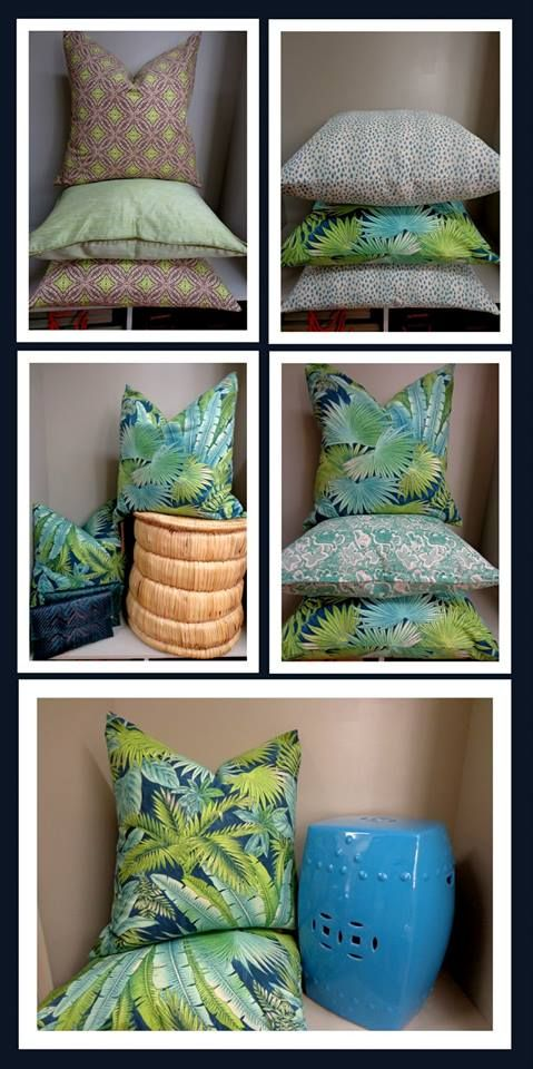 Bahamian Breeze, colour Peninsula and un Swirl, colour Fossil used on scatter cushions.  Fabrics available from Halogen International - www.halogen.co.za   Image courtesy of Blumberg Fabrics