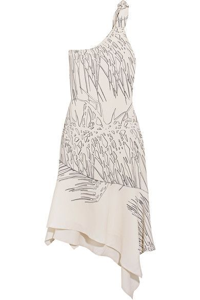 Halston Heritage - One-shoulder Asymmetric Printed Crepe Dress - White -