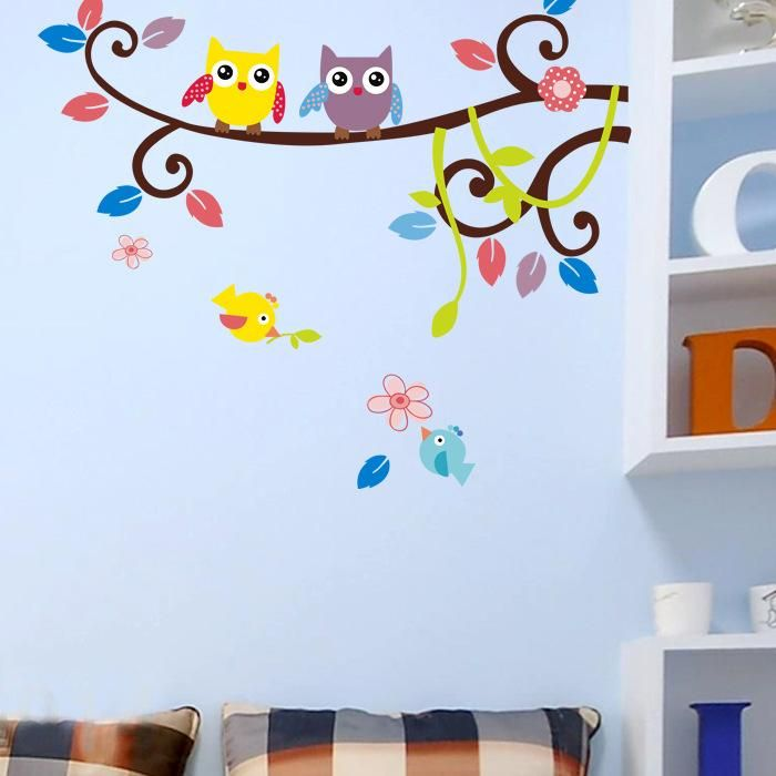 coruja dos desenhos animados atacado varejo adesivo de parede para quarto de crianças