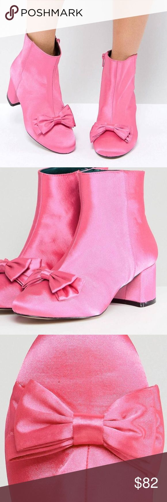 💕River Island Satin Bow Front Heeled Boots Boots by River Island Smooth satin upper Zip closure Bow detail Round toe Block heel River Island Shoes Ankle Boots & Booties