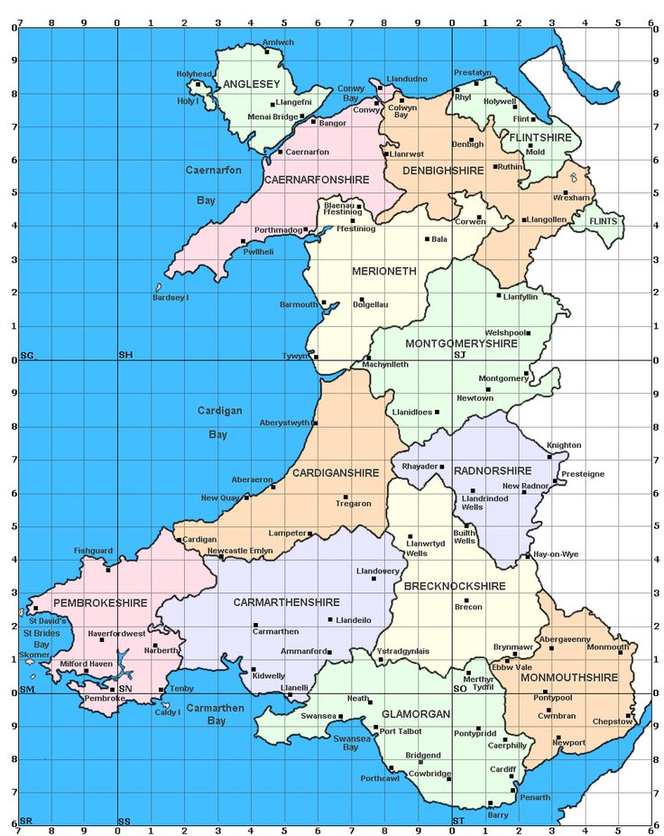 Map of Wales showing the old counties before the modern restructure.