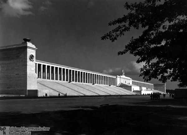 CONSERVATISM/GERMANY: Zeppelin Field, Nuremberg, Germany, Albert Speer (1938): Drawing on the Roman Fora arrangements of 48 BCE -112 CE and the Pergamon Altar 2 BCE.