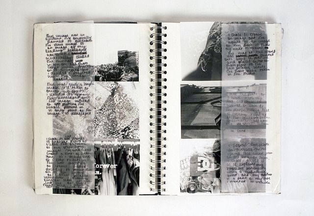 Photography Sketchbook// I like how the tracing paper overlays the photographs so you can read the commentary and then pull it back and see the images on their own.