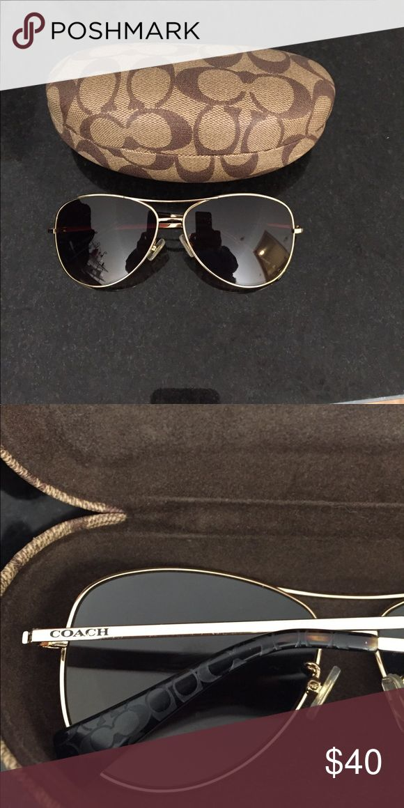 COACH gold aviator  sunglasses With matching case. Willing to negotiate Coach Accessories Sunglasses