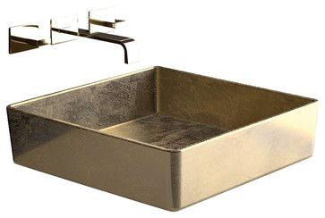 """FOUR Lux FOURFO Square Vessel Sink in Gold Leaf 15.7"""" x 15.7"""" - contemporary - bathroom vanities and sink consoles - Modo Bath"""