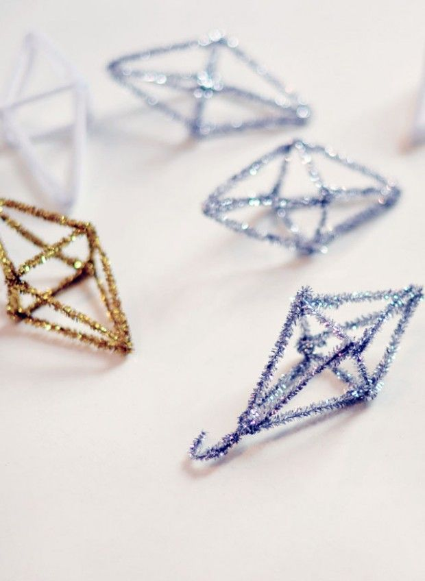 GEO Christmas Ornaments from Pipe Cleaners