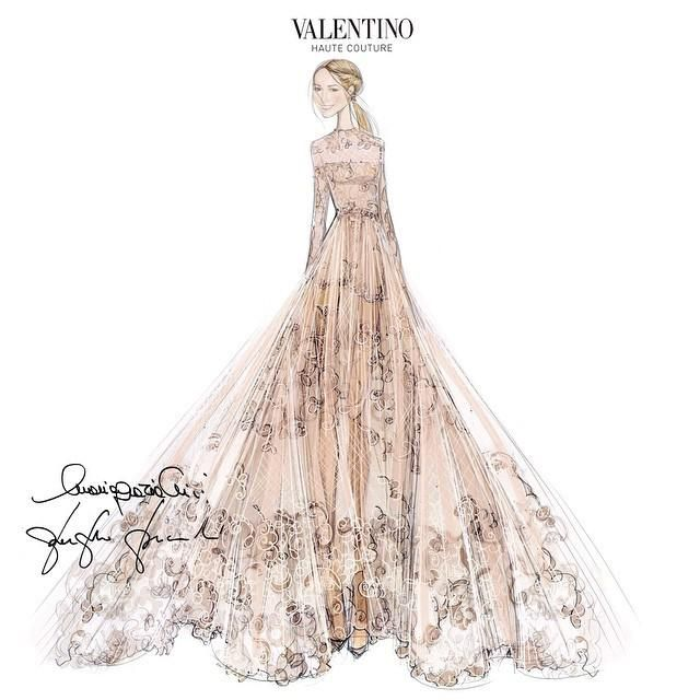 Boceto del vestido de novia de Valentino de Frida Giannini