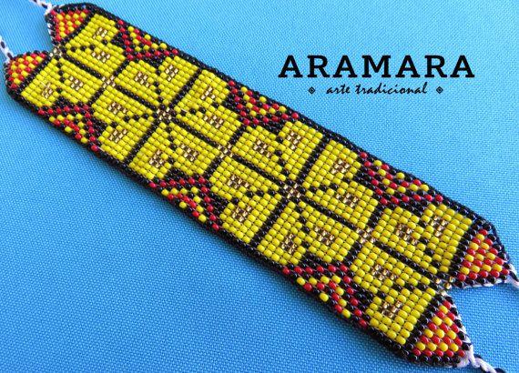 Mexican Huichol Loom Beaded Peyote Bracelet PT-0044 by Aramara