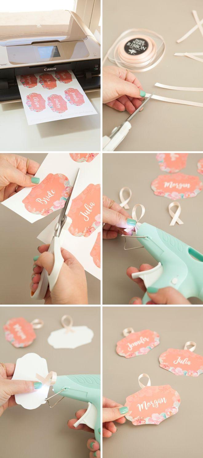 DIY de cabide da noiva e tags