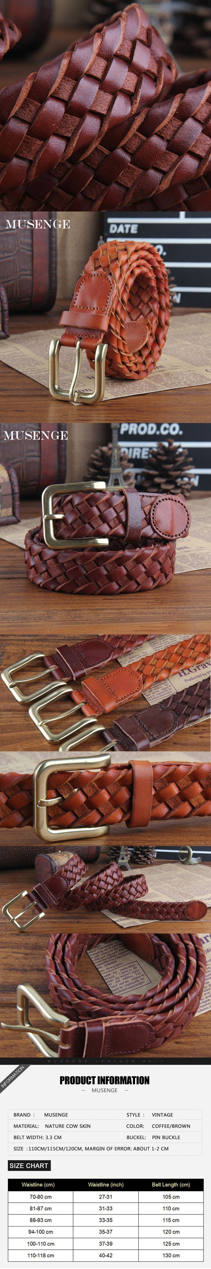 Nature Cow Skin leather belt mens braided ceinture homme pin vintage designer belts men high quality cinturon hombre kemer cinto