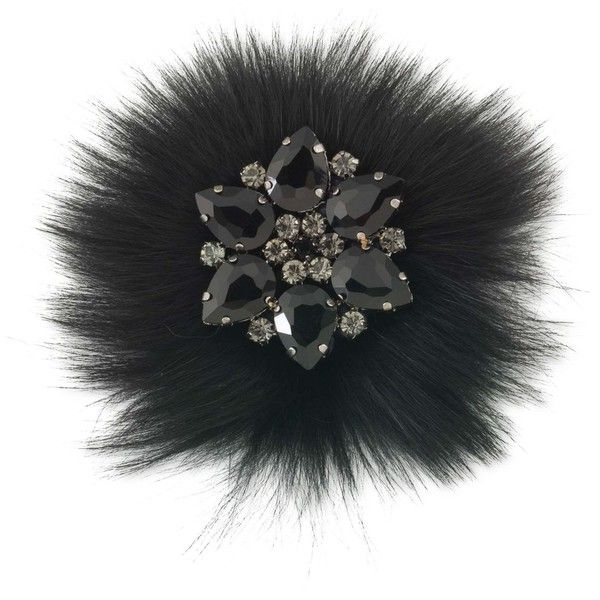 Carolee Hematite-Tone Black Stone and Fur Pin (185 RON) ❤ liked on Polyvore featuring jewelry, brooches, black, stone jewelry, carolee, stone jewellery, carolee jewelry and hematite jewelry
