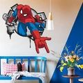 HOT!! 3D cartoon Spiderman Wall Decals Removable PVC Wall stickers Mural For Boys' Room Decor christmas gift