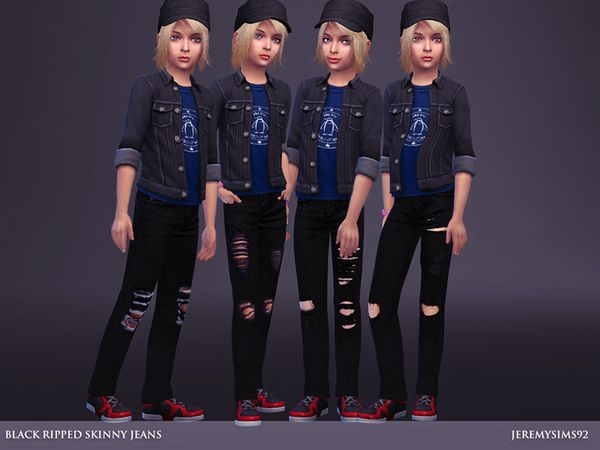 Created for: The Sims 4  Black Ripped Skinny Jeans for girls 4 style - Mesh EA - Recolor. http://www.thesimsresource.com/downloads/details/category/sims4-clothing-female-child-everyday/title/black-ripped-skinny-jeans/id/1334298/