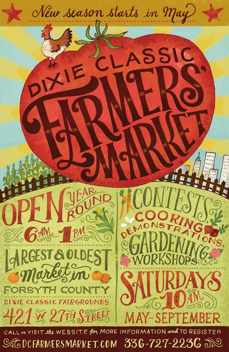 Poster for a Farmers' Market in Winston-Salem, NC. It was ...