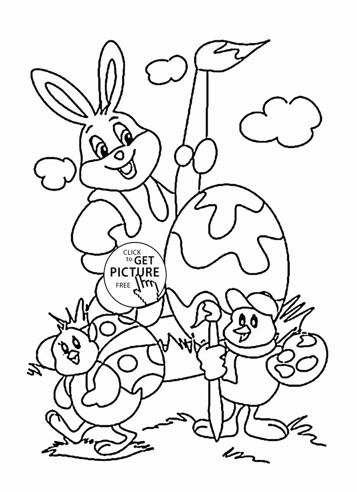 Funny Easter Bunny and Chicks coloring page for kids