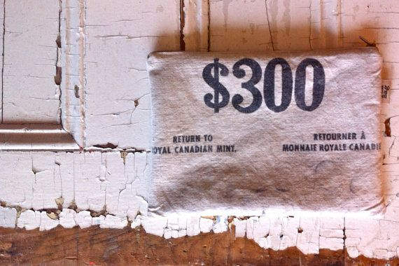 300  medium reconstructed vintage canadian coin sack by yahbag, $30.00