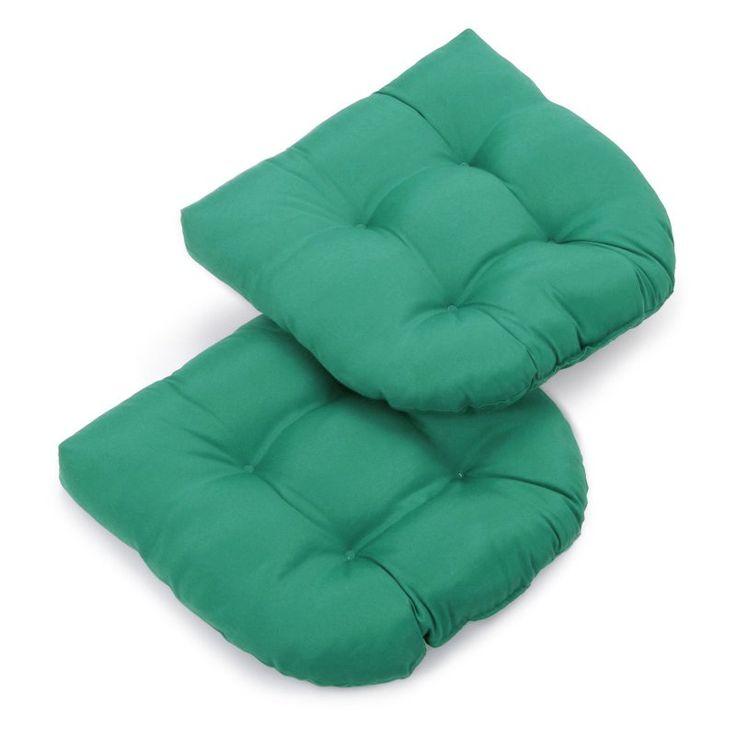 Blazing Needles Twill U-Shaped Indoor Chair Cushion - Set of 2 Emerald - 93184-2CH-TW-EM