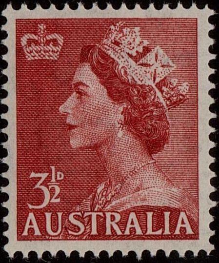 ACSC 296A) 1953. Queen Elizabeth II. 3½d. Perforation 15 x 14. Sideways C of A. Carmine-Red