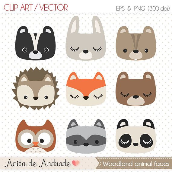 Woodland animal faces Digital Clipart  by AnitadeAndradeStore