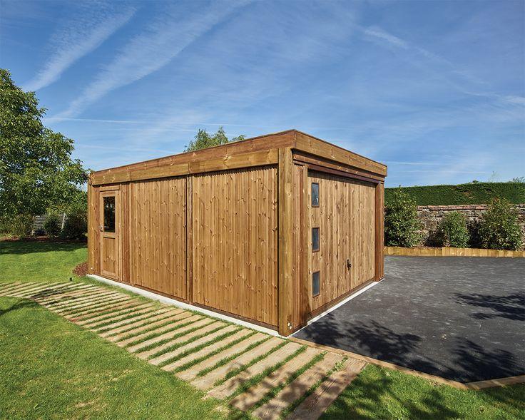 un joli garage en bois pour abriter votre v hicule pin classe 4 technologie durapin bois. Black Bedroom Furniture Sets. Home Design Ideas