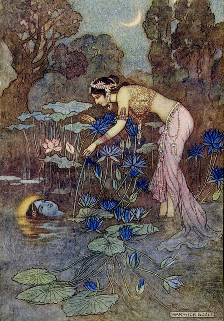 Sita finds Rama among the Lotus blooms - Warwick Goble, Indian Myth and Legend