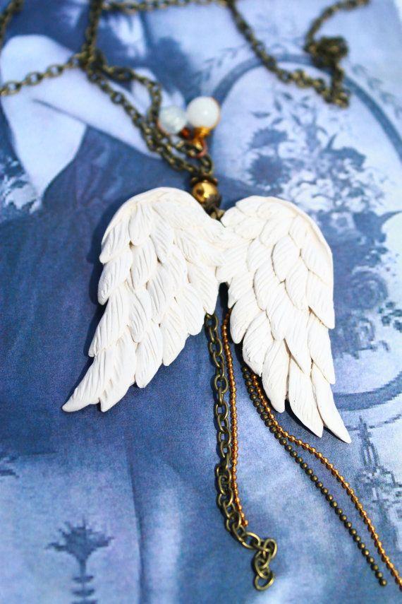 Angel Wings Necklace Polymer Clay Wings Vintage by PANDORAartshop, $25.00