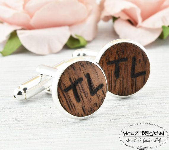 Individualisierte Manschettenknöpfe Cufflinks von HolzDesignGermany