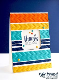 handmade thank you card ... strips of brightly colored chevron embossed cardstock ... negativ space for sentiment ... luv the sprinkling of matching color enamel dots ... Stampin' Up!
