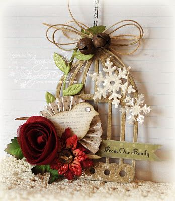 Christmas Birdcage Tag designed by Amy Sheffer - sentiments from Christmas Mini Sentiments