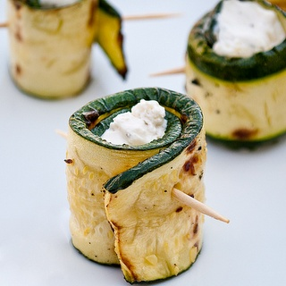 Stuffed grilled zucchini wraps! w cream cheese & bacon.