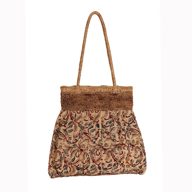 Banana fibre hand crocheted bag with Kalamkari cotton fabric