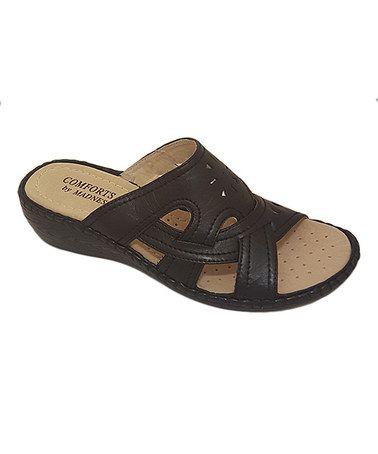 Look at this #zulilyfind! Black Cutout Cross-Strap Sandal #zulilyfinds