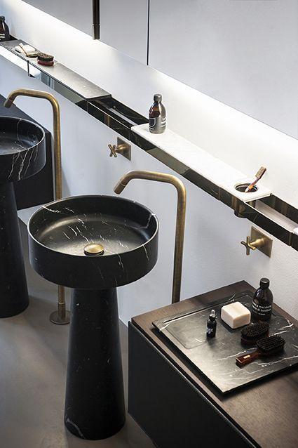 | bathroom | Pedestal sinks with brushed brass faucets. #brushedbrass #bathroom