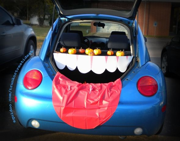 teeth mouth open trunk or treat theme car decoration - Car Decorations For Halloween