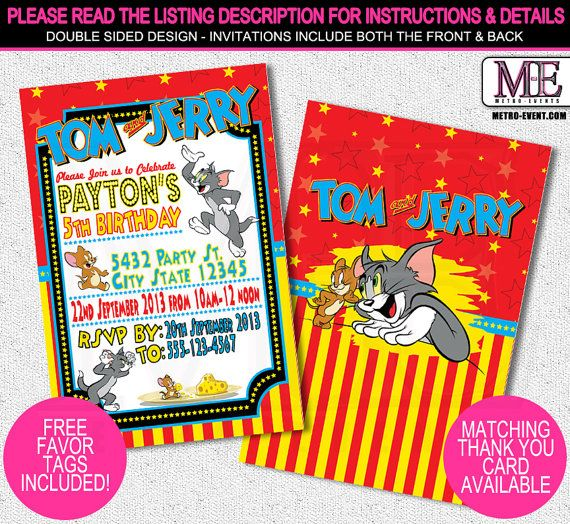 Tom and Jerry Invitations Tom & Jerry Invitations by MetroEvents