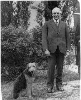President Warren Harding and his dog, Laddie Boy.