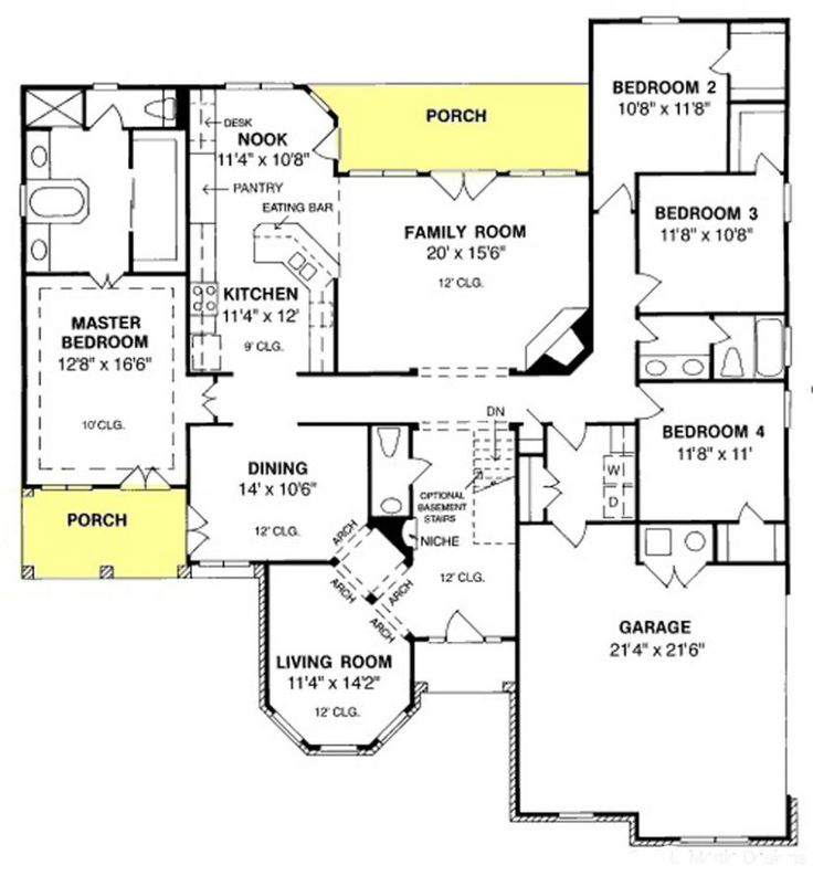 #655722 - 4 bedroom 2.5 bath with second living area : House Plans, Floor Plans, Home Plans, Plan It at HousePlanIt.com