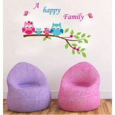 Boldog bagoly család falmatrica