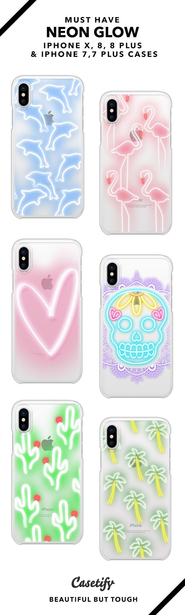 Must Have Neon Glow iPhone X, iPhone 8, iPhone 8 Plus, iPhone 7 and iPhone 7 Plus case. - Shop them here ☝️☝️☝️ BEAUTIFUL BUT TOUGH ✨ - neon color, neon, skull, flamingo, glowing