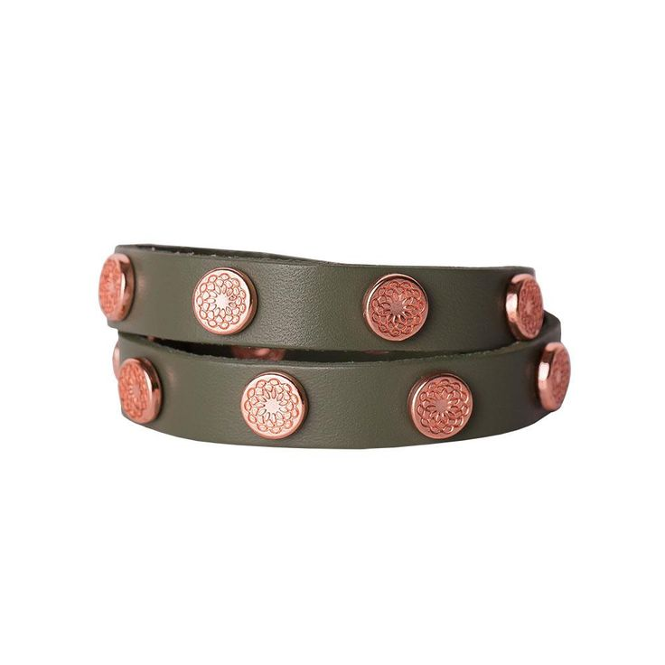 Olive green leather and rose gold studs are a surprising pair--but you won't be surprised by the compliments you get when you wear this stunning wrap bracelet!  Product Material - Genuine leather with Zinc Alloy studs